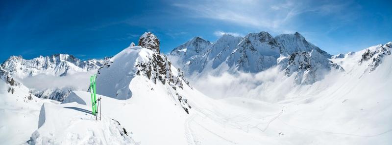 Panorama de dingue avant aller ski notre petit couloir tout poudre